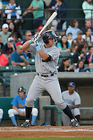Wilmington Blue Rocks infielder Frank Schwindel (43) at bat during a game against the Myrtle Beach Pelicans at Ticketreturn.com Field at Pelicans Ballpark on April 09, 2015 in Myrtle Beach, South Carolina. Myrtle Beach defeated Wilmington 9-1. (Robert Gurganus/Four Seam Images)