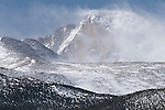 snow blowing across Longs Peak, the Diamond and Beaver formations visible, subalpine forest, spring, May, Rocky Mountain National Park, Colorado, USA
