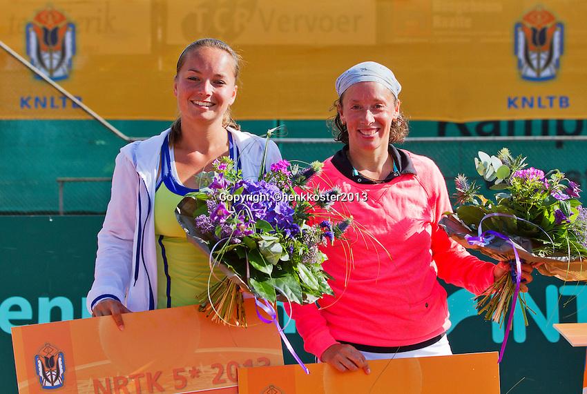 2013-08-17, Netherlands, Raalte,  TV Ramele, Tennis, NRTK 2013, National Ranking Tennis Champ,  runners up ladies doubles; Nicole Thijssen(L) and Steffanie Gomperts<br /> <br /> Photo: Henk Koster