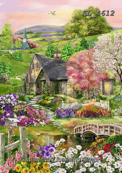 Interlitho-Franco, LANDSCAPES, LANDSCHAFTEN, PAISAJES, paintings+++++,landscape, house,KL4612,#l#, EVERYDAY,,puzzle,puzzles