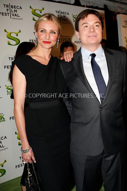 WWW.ACEPIXS.COM . . . . .  ....April 21 2010, New York City....Actors Cameron Diaz and Mike Myers arriving at the premiere of 'Shrek Forever After' as part of the Tribeca Film Festival at the Ziegfeld Theatre on April 21 2010 in New York City....Please byline: NANCY RIVERA- ACEPIXS.COM.... *** ***..Ace Pictures, Inc:  ..Tel: 646 769 0430..e-mail: info@acepixs.com..web: http://www.acepixs.com