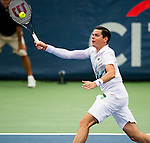 Milos Raonic (CAN) advances to the semifinal after defeating Steve Johnson (USA) 76(2) 62 at the Citi Open in Washington, DC on August 1, 2014.