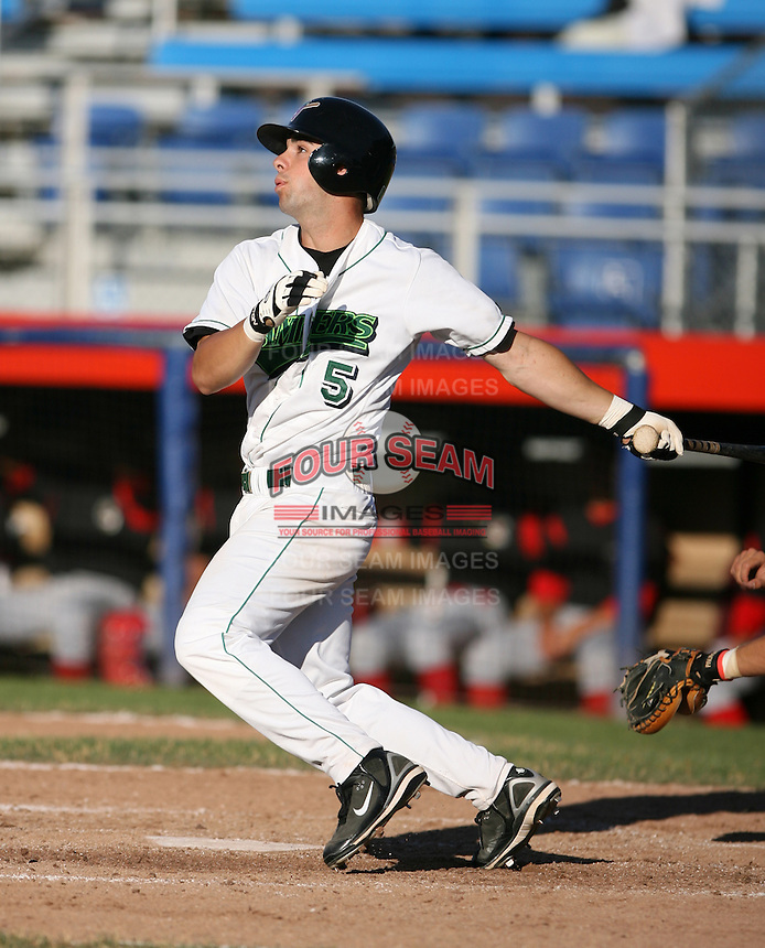 Ryan Curry of the Jamestown Jammers, Class-A affiliate of the Florida Marlins, during New York-Penn League baseball action.  Photo by Mike Janes/Four Seam Images