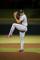 Mesa Solar Sox relief pitcher Brett Hanewich (53), of the Los Angeles Angels organization, delivers a pitch during an Arizona Fall League game against the Scottsdale Scorpions on October 9, 2018 at Scottsdale Stadium in Scottsdale, Arizona. The Solar Sox defeated the Scorpions 4-3. (Zachary Lucy/Four Seam Images)