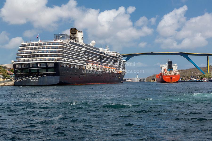 Willemstad, Curacao, Lesser Antilles.  Laguna D Product Tanker Entering St. Anna Bay, Zuiderdam Cruise Liner on Left, Queen Juliana Bridge High in Background.