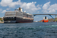 Willemstad, Curacao, Lesser Antilles.  Laguna D Product Tanker Entering St. Anna Bay, Zuiderdam Cruise Liner on Left, Queen Juliana Bridge High in Background.