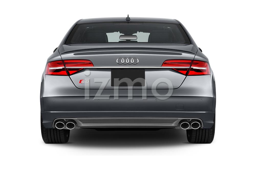 Straight rear view of 2018 Audi S8 4.0-TFSI-quattro-Tiptronic-Plus  4 Door Sedan stock images