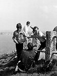 Beatles 1967 George Harrison and John Lennon with Neil Aspinall film Magical Mystery Tour at Newquay
