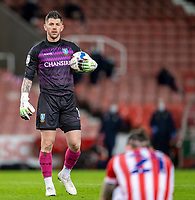 16th February 2021; Bet365 Stadium, Stoke, Staffordshire, England; English Football League Championship Football, Stoke City versus Sheffield Wednesday; Goalkeeper Keiren Westwood of Sheffield Wednesday holds the ball during a break in play