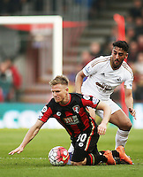 Matt Ritchie of Bournemouth and Neil Taylor of Swansea City during the Barclays Premier League match between AFC Bournemouth and Swansea City played at The Vitality Stadium, Bournemouth on March 11th 2016