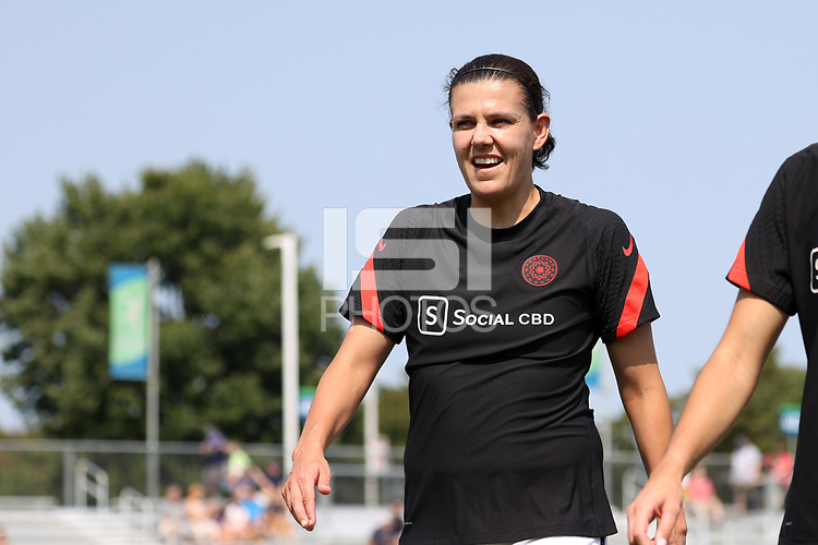 CARY, NC - SEPTEMBER 12: Christine Sinclair #12 of the Portland Thorns FC heads to the locker room before a game between Portland Thorns FC and North Carolina Courage at Sahlen's Stadium at WakeMed Soccer Park on September 12, 2021 in Cary, North Carolina.