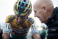 Thijs Van Amerongen (NLD/Telenet-Fidea) getting some post-race felicitations by team manager Hans van Kasteren<br /> <br /> Superprestige Gavere 2014
