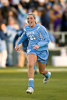 North Carolina Tar Heels midfielder Allie Long (21) celebrates at the final whistle. The North Carolina Tar Heels defeated the Notre Dame Fighting Irish 2-1 during the finals of the NCAA Women's College Cup at Wakemed Soccer Park in Cary, NC, on December 7, 2008. Photo by Howard C. Smith/isiphotos.com