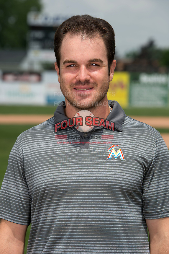 Batavia Muckdogs trainer Mike Bibbo poses for a photo during media day on June 10, 2014 at Dwyer Stadium in Batavia, New York.  (Mike Janes/Four Seam Images)