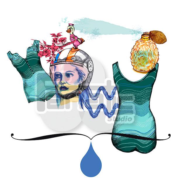 Illustrative image of woman with dress and perfume representing Aquarius sign