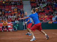The Hague, The Netherlands, September 16, 2017,  Sportcampus , Davis Cup Netherlands - Chech Republic, Doubles: Pavlasek/Jebavy (CZE) <br /> Photo: Tennisimages/Henk Koster