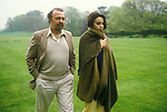 Sir Peter Hall and opera singer wife Maria Ewing. Glyndebourne East Sussex. England 1984