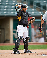 Tony Sanchez (27) of the Salt Lake Bees during the game against the El Paso Chihuahuas in Pacific Coast League action at Smith's Ballpark on April 30, 2017 in Salt Lake City, Utah.El Paso defeated Salt Lake 12-3. This was Game 2 of a double-header originally scheduled on April 28, 2017. (Stephen Smith/Four Seam Images)