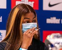 22nd May 2021; Hilton Hotel, Gateshead , England;  Diamond League Muller Athletics Grand Prix Gateshead press conference; Sha'Carri Richardson answers questions to the British Press.