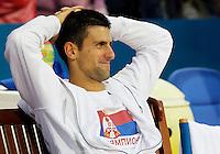 Tenis, Serbia Open 2011.Final.Novak Djokovic (SRB) Vs. Feliciano Lopez (ESP).Novak Djokovic, smile.Beograd, 01.05.2011..foto: Srdjan Stevanovic