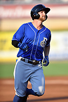 Biloxi Shuckers Bruce Caldwell (1) rounds the bases during a game against the Tennessee Smokies at  on August 10, 2019 in Kodak, Tennessee. The Shuckers defeated the Smokies 7-3. (Tony Farlow/Four Seam Images)