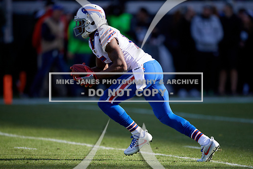 Buffalo Bills Brandon Tate (15) returns a kickoff during an NFL Wild-Card football game against the Jacksonville Jaguars, Sunday, January 7, 2018, in Jacksonville, Fla.  (Mike Janes Photography)