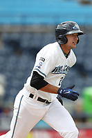 West Michigan Michigan Whitecaps shortstop Daniel Pinero (21) runs to first base against the Fort Wayne TinCaps during the Midwest League baseball game on April 26, 2017 at Fifth Third Ballpark in Comstock Park, Michigan. West Michigan defeated Fort Wayne 8-2. (Andrew Woolley/Four Seam Images via AP Images)