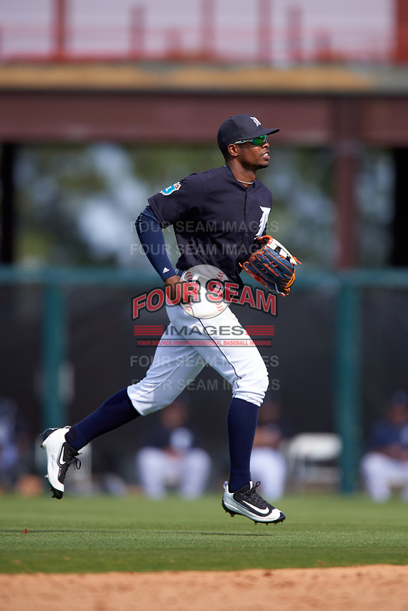 Detroit Tigers center fielder Wynton Bernard (63) jogs to the dugout during an exhibition game against the Florida Southern Moccasins on February 29, 2016 at Joker Marchant Stadium in Lakeland, Florida.  Detroit defeated Florida Southern 7-2.  (Mike Janes/Four Seam Images)