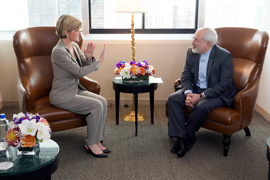 Australian Foreign Minister Julie Bishop meeting with H.E. Dr Mohammad Javad Zarif,  Minister for Foreign Affairs of the Islamic Republic of Iran, in New York, Friday Sept 20, 2014.  photo by Trevor Collens