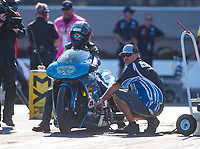 Oct 11, 2019; Concord, NC, USA; Crew member for NHRA pro stock motorcycle rider Andie Rollins during qualifying for the Carolina Nationals at zMax Dragway. Mandatory Credit: Mark J. Rebilas-USA TODAY Sports