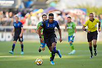 SAN JOSE, CA - SEPTEMBER 30: Danny Hoesen #9 of the San Jose Earthquakes during a Major League Soccer (MLS) match between the San Jose Earthquakes and the Seattle Sounders on September 30, 2019 at Avaya Stadium in San Jose, California.