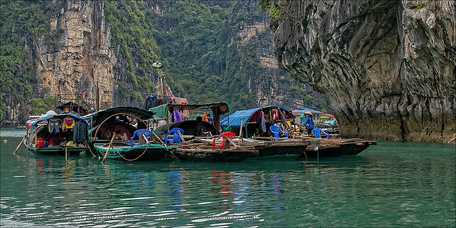 """Floating Village in Ha Long Bay in Gulf of Tonkin, Vietnam.  This print was selected for the Newton Open Studios """"Invitational"""" showcasing work of artists who previously received top juror awards."""
