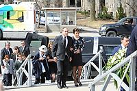 Jean-Francois lepine and Mireille Deyglun<br /> Janine Sutto's daughter<br /> attend Sutto funerals, April 10, 2017.<br /> <br /> PHOTO  :  Agence Quebec Presse