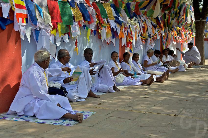 Buddhist Pilgrim's from Sri Lanka at the Varanasi Sarnath  Buddhist Area, Temple and Dhaekh Stupa, India