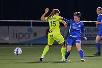 Fleur Pauwels (66) of KRC Genk battles for the ball with Raquel Viaene (15) of AA Gent pictured during a female soccer game between  Racing Genk Ladies and AA Gent Ladies ,  on the 6 th  matchday of the 2021-2022 season of the Belgian Scooore Womens Super League , friday 8 october 2021  in Genk , Belgium . PHOTO SPORTPIX | JILL DELSAUX