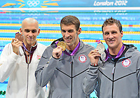 August 02, 2012..Laszlo Cseh, Michael Phelps, Ryan Lochte pose for a photograph at the conclusion of Men's 200m Individual Medley Award Ceremony at the Aquatics Center on day six of 2012 Olympic Games in London, United Kingdom.
