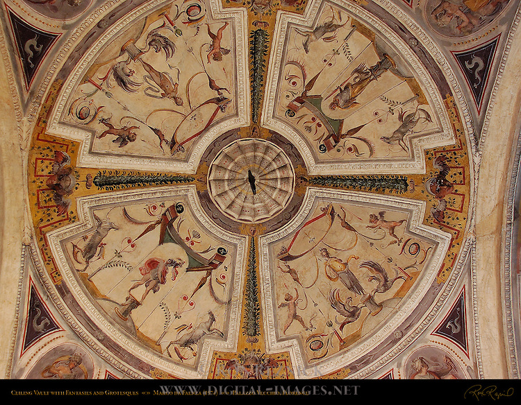Ceiling Vault with Fantasies and Grotesques Monumental Staircase Palazzo Vecchio Florence