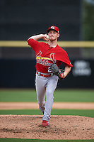 Palm Beach Cardinals pitcher Keith Butler (29) delivers a pitch during the first game of a doubleheader against the Dunedin Blue Jays on July 31, 2015 at Florida Auto Exchange Stadium in Dunedin, Florida.  Dunedin defeated Palm Beach 7-0.  (Mike Janes/Four Seam Images)