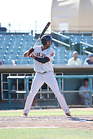 Daniel Carbonell (15) of the San Jose Giants bats against the Lancaster JetHawks during the first game of a doubleheader at The Hanger on July 14, 2016 in Lancaster, California. Lancaster defeated San Jose, 3-0. (Larry Goren/Four Seam Images)