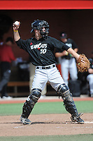 University of Cincinnati Bearcats catcher Woody Wallace (10) during a game against the Rutgers University Scarlet Knights at Bainton Field on April 19, 2014 in Piscataway, New Jersey. Rutgers defeated Cincinnati 4-1.  (Tomasso DeRosa/ Four Seam Images)