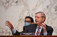 United States Senator Lindsey Graham (Republican of South  Carolina), Chairman, US Senate Judiciary Committee, speaks during a Senate Judiciary Committee confirmation hearing on the nomination of Amy Coney Barrett for Associate Justice of the Supreme Court, on Capitol Hill in Washington, DC on Thursday, October 15, 2020.  If confirmed, Barrett will replace Justice Ruth Bader Ginsburg, who died last month.   <br /> Credit: Kevin Dietsch / Pool via CNP /MediaPunch