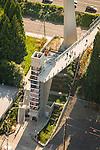 Aerial view of the Gibbs Pedestrian Bridge spanning Interstate 5 in southwest Portland, OR.