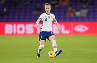 ORLANDO CITY, FL - FEBRUARY 18: Becky Sauerbrunn #4 of the United States passes off the ball during a game between Canada and USWNT at Exploria Stadium on February 18, 2021 in Orlando City, Florida.
