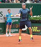 Robby Ginepri (USA) falls behind Rafael Nadal (ESP) 6-0, 4-3 at  Roland Garros being played at Stade Roland Garros in Paris, France on May 26, 2014