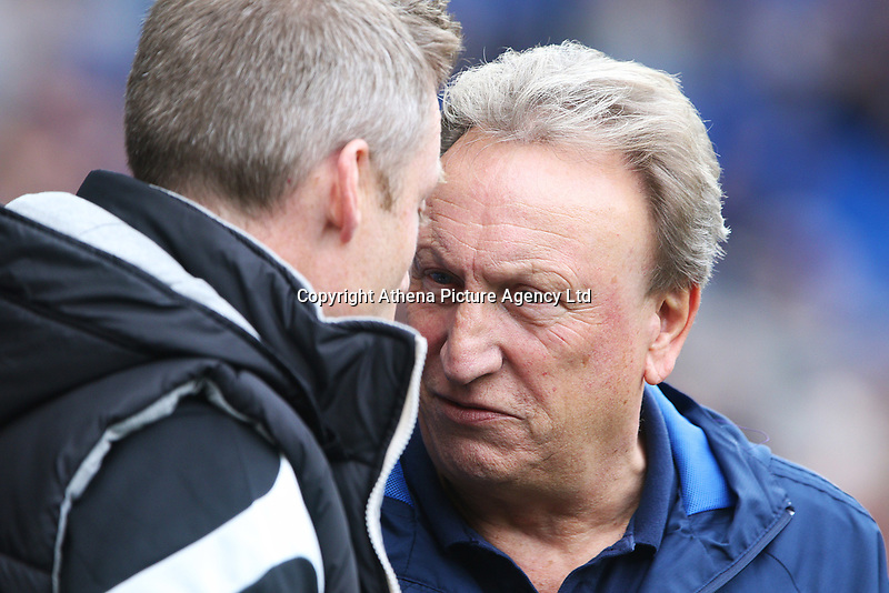 Millwall manager Neil Harris meets Cardiff City manager Neil Warnock prior to kick off of the Sky Bet Championship match between Cardiff City and Millwall at The Cardiff City, Cardiff, Wales, UK. Saturday 28 October 2017