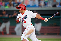 Auburn Doubledays designated hitter Adalberto Carrillo (8) follows through on a swing during a game against the Batavia Muckdogs on June 15, 2018 at Falcon Park in Auburn, New York.  Auburn defeated Batavia 5-1.  (Mike Janes/Four Seam Images)