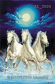 Interlitho, Luis, FANTASY, paintings, 3 wh.horses, night, KL, KL3505,#fantasy# illustrations, pinturas