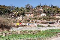 Bhaktapur, Nepal.  Rural Houses on Hillside below Changu Narayan.