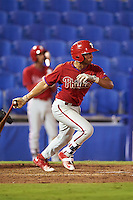 GCL Phillies third baseman Raul Rivas (19) at bat during the second game of a doubleheader against the GCL Blue Jays on August 15, 2016 at Florida Auto Exchange Stadium in Dunedin, Florida.  GCL Phillies defeated the GCL Blue Jays 4-0.  (Mike Janes/Four Seam Images)