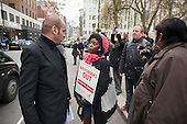 Protest at proposed rent rises by residents and supporters  outside the Mayfair offices of US property company Westbrook Partners, which recently bought their homes on the New Era Estate in Hoxton, London.